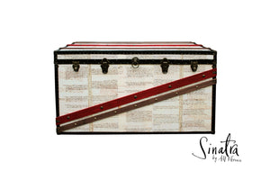 SINATRA Vintage Style Coffee Table Steamer Trunk, Furniture Steamer Trunk Coffee Table Storage Chest, AM Florence, AMFlorence