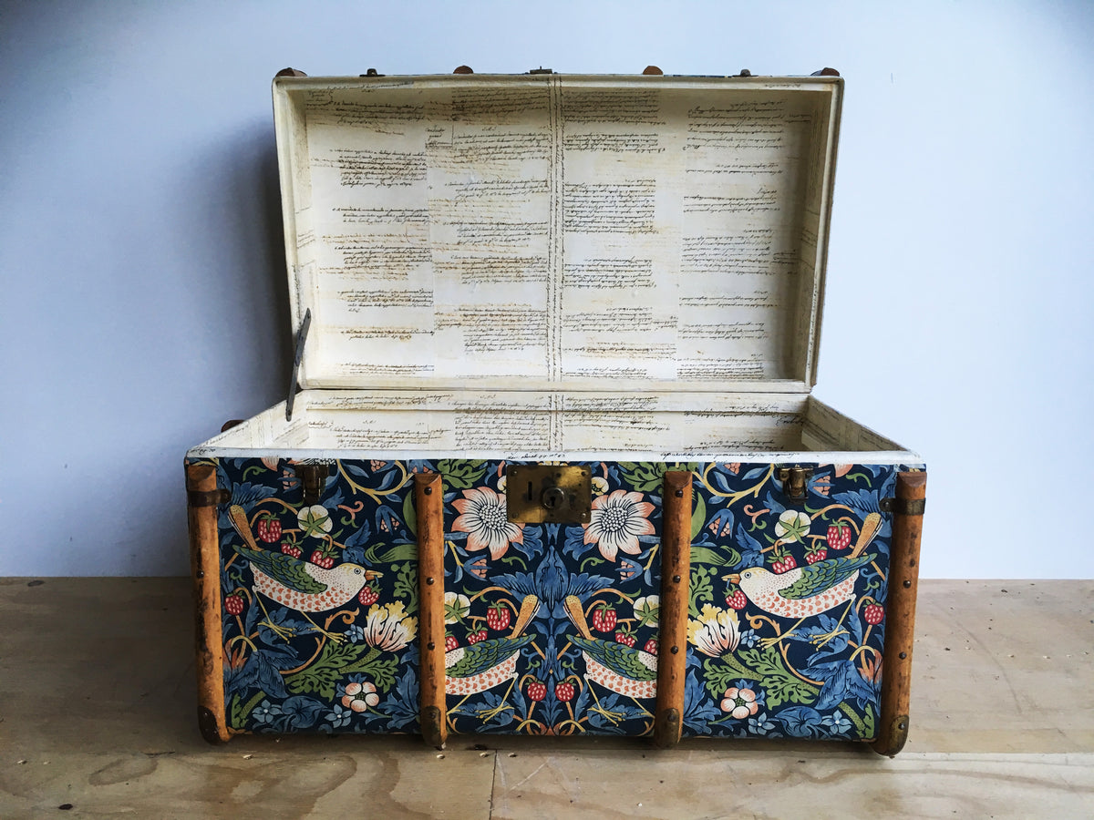 - MORRIS Strawberry Thief Wallpaper Upcycled Vintage Steamer Trunk