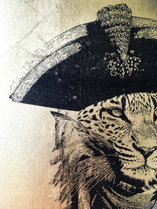 captain leopard A4 neo victorian art victoriana imagery gold gilded artwork retro surreal home decor portraits by amflorence