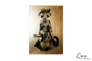 DEER LADY - Big Size Gilded Animal Art Print Picture Handmade Home Decor, print picture gilded home decor art, AMFlorence, AMFlorence