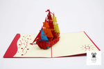 Colorful Sails Ship Pop Up Card