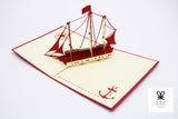 Western Themed Ship Pop Up Card