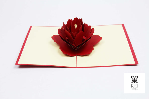 Red Peony Flower Pop Up Card