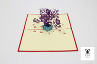 Purple Flower Bonzai Pop Up Card