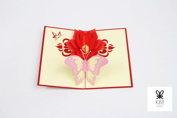 Butterfly With Flower Pop Up Card