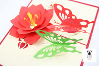 Two Butterflies With Flower Pop Up Card