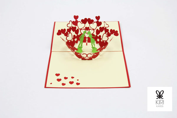 Hearts With Couple Pop Up Card