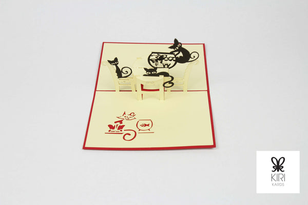 Cats & Fishbowl Pop Up Card