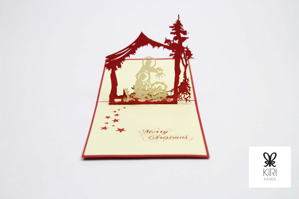 Nativity Scene with Trees Pop Up Card