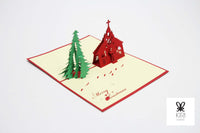 Christmas Tree and Church Pop Up Card