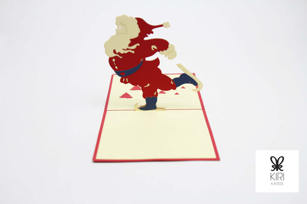 Skating Santa Pop Up Card