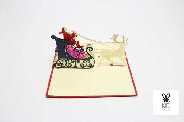 Reindeer Sleigh Pop Up Card