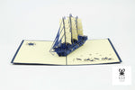 Asian Themed Ocean Ship Pop Up Card