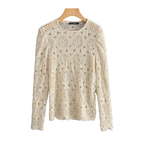 Vintage Women Beige Lace Shirts