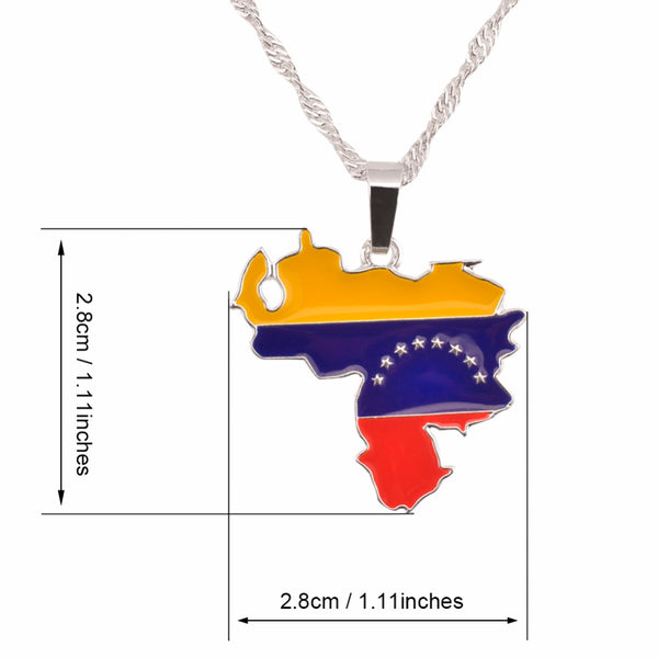 Venezuela Map Pendant Necklace