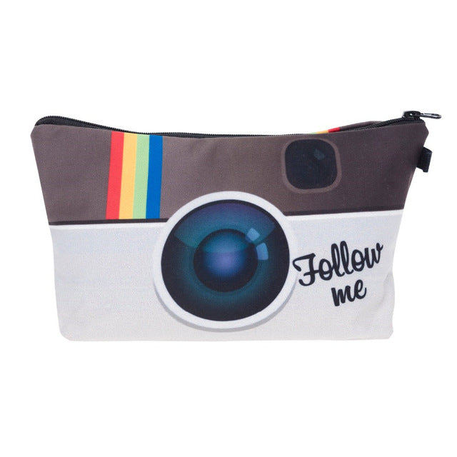 Instagram Follow me 3D Printed  women cosmetic bag