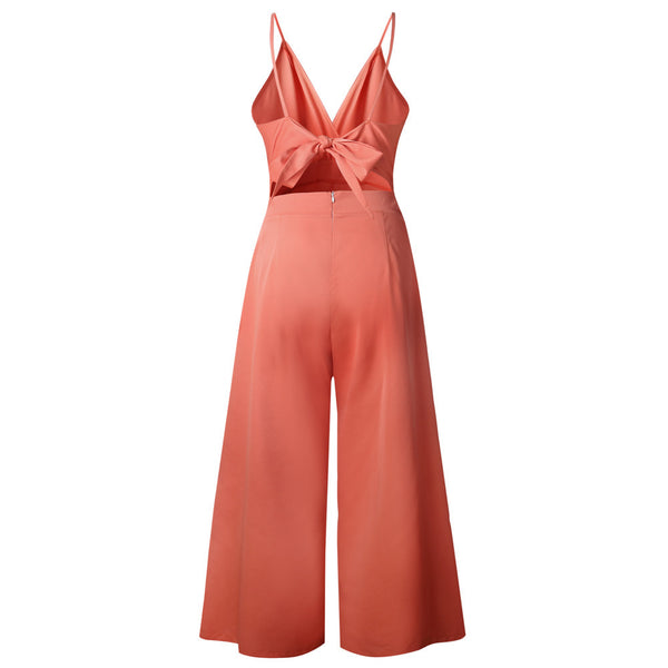 Women Causal V Neck Back Bow Jumpsuit Clubwear