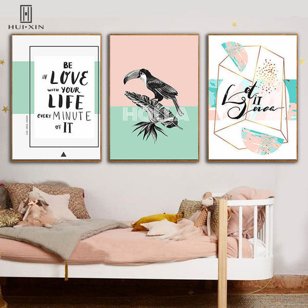 Instagram Style Tropical Plants HD Pattern Poster Parrot Inspiring Words Unframed Paintings