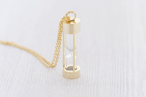 Gold Stainless Memorial Hourglass Pendant - Cremation Jewelry - Engraved Jewelry - Urn Necklace - Pet Memorial - Ash Necklace
