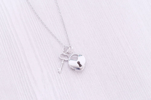 Stainless Heart Lock Memorial Pendant - Cremation Jewelry - Engraved Jewelry - Urn Necklace - Pet Memorial - Ash Necklace - Heart and Key