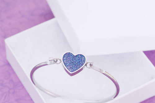 Cremation Bangle Heart Bracelet - Cremation Bracelet - Cremation Jewelry - Ash Bracelet - Ash Jewelry - Urn - Urn Jewelry - Pet Loss