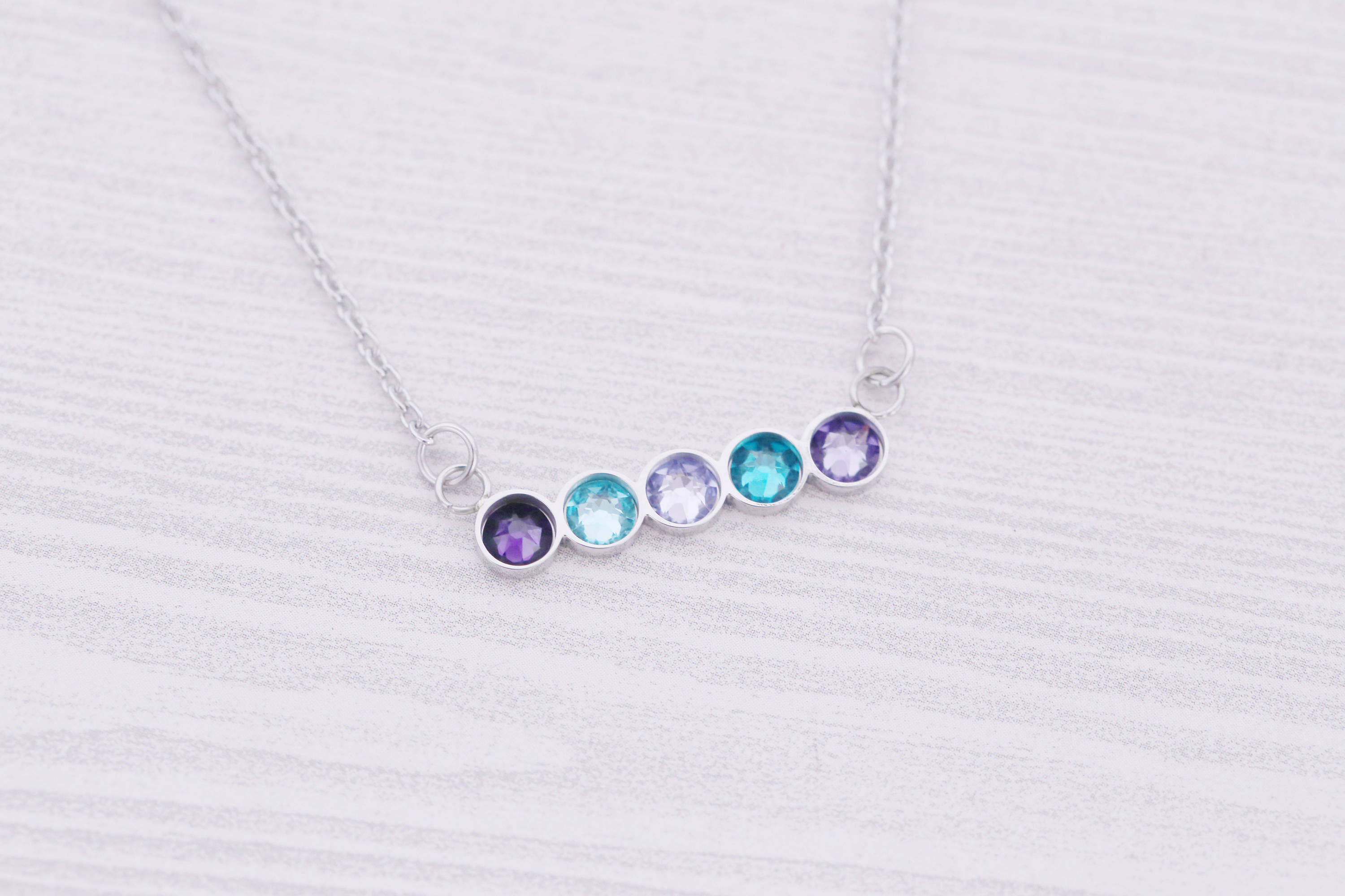 5 Birthstone Bar Necklace - New Mom Gift - New Baby Gift - Kids Name Jewelry - Engraved Jewelry - Bar Pendant - Bar Necklace