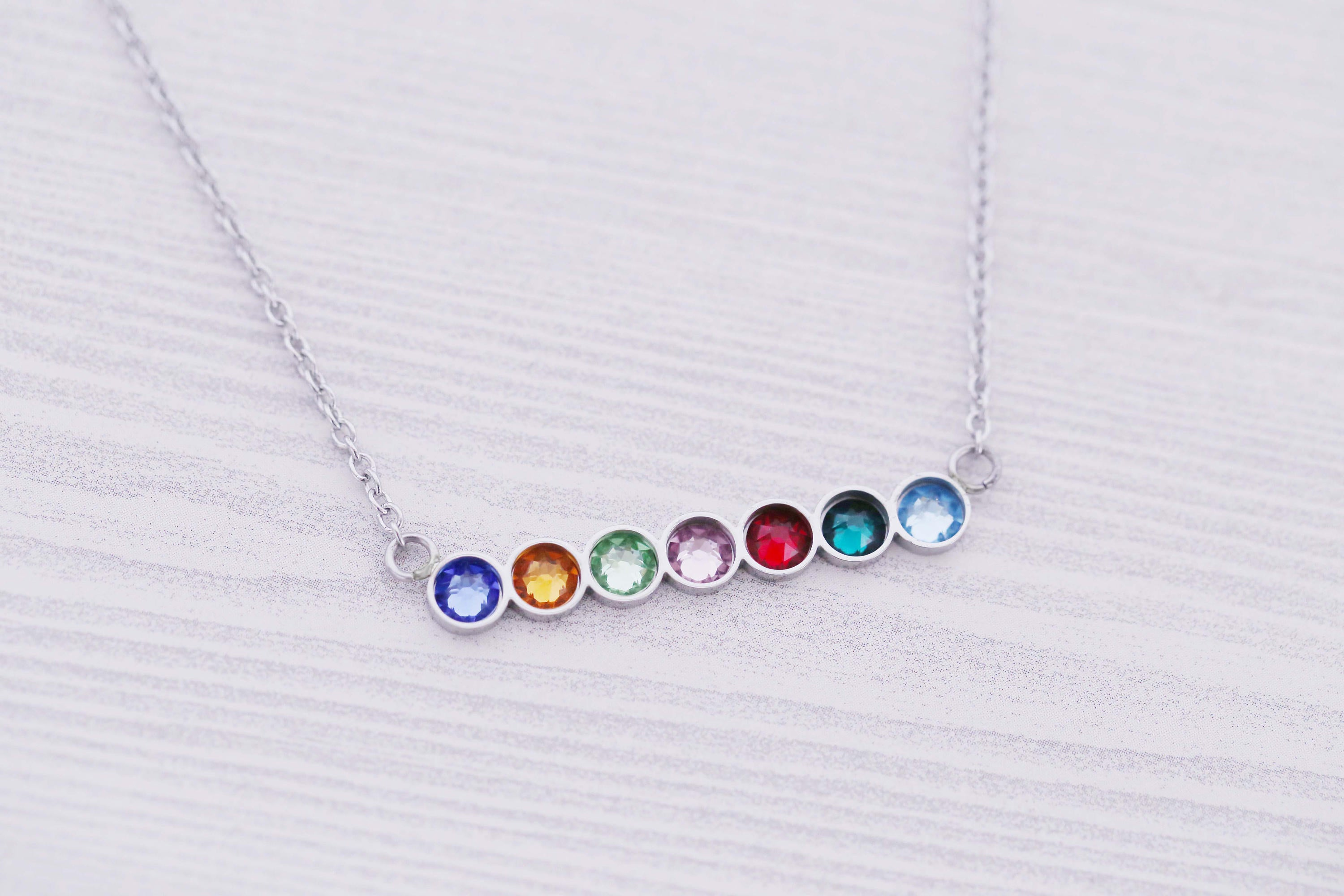 7 Birthstone Bar Necklace - New Mom Gift - New Baby Gift - Kids Name Jewelry - Engraved Jewelry - Bar Pendant - Bar Necklace