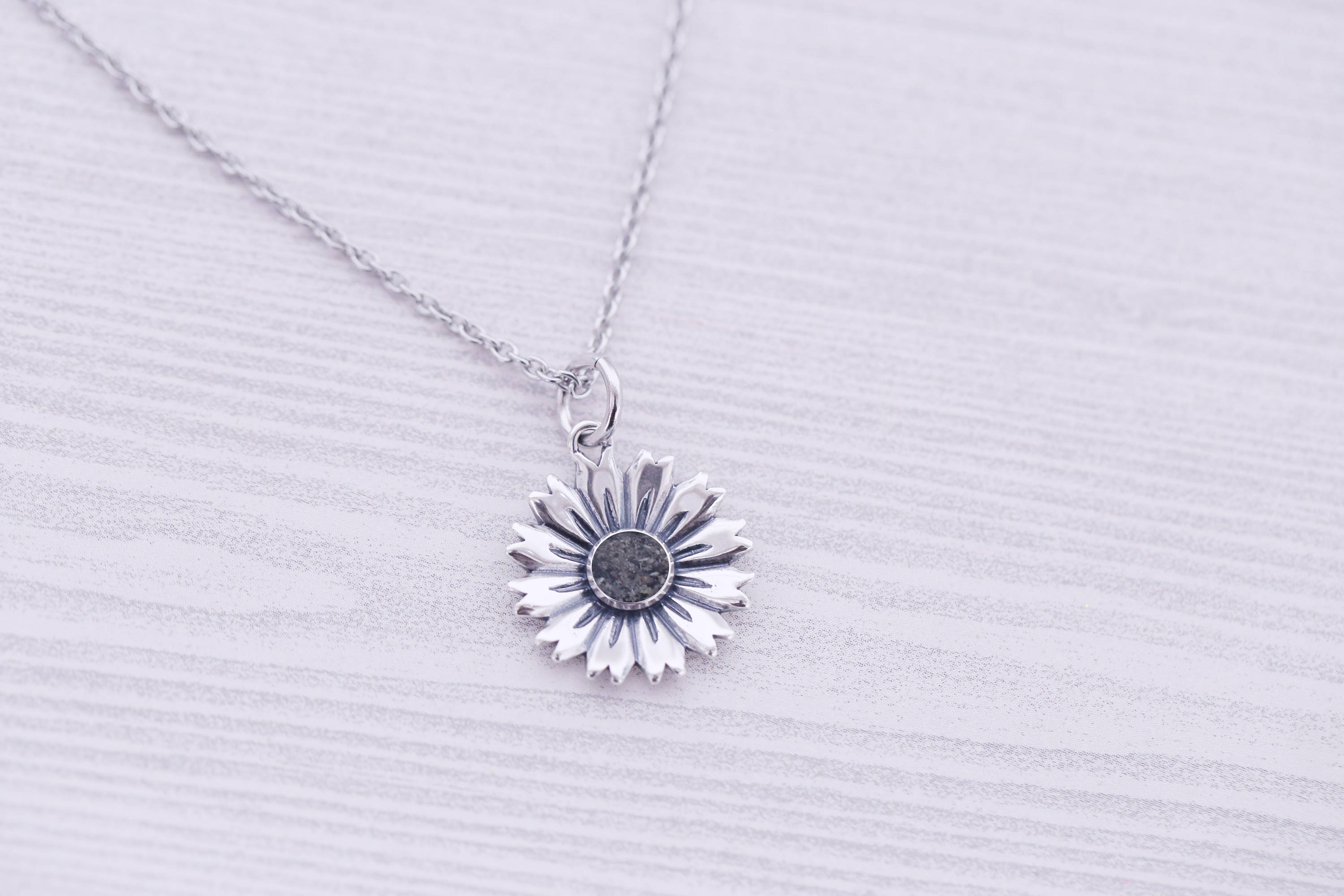 Cremation Pendant - Sterling Memorial Pendant for Ashes - Cremation Jewelry - Sunflower - Urn Necklace - Pet Memorial - Ash Necklace