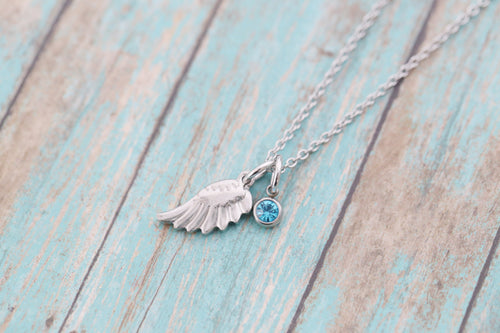 Stainless Memorial Angel Wing Necklace - Memorial Jewelry - Engraved Jewelry - Grief Jewelry - Miscarriage Jewelry - Angel Wing