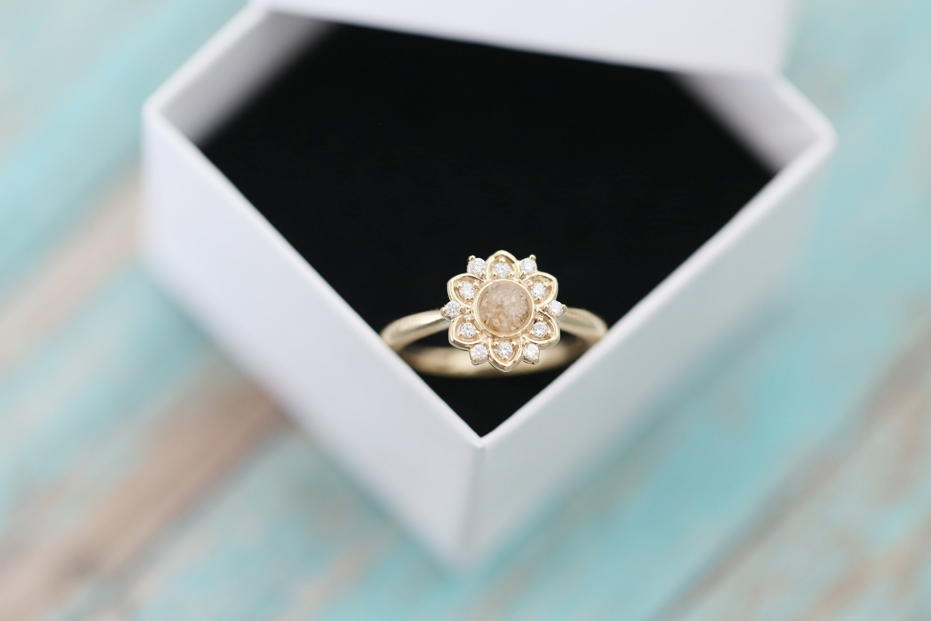 14k Gold Cremation Ring - Diamond Flower Stacking Ring - Cremation Jewelry - Ash Ring - Ash Jewelry - Urn Ring - Pet Loss Cremation Ring