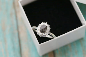 Sterling Halo Cremation Ring - Silver Stacking Ring - Cremation Jewelry - Ash Ring - Ash Jewelry - Urn Ring - Pet Loss - Cremation Ring
