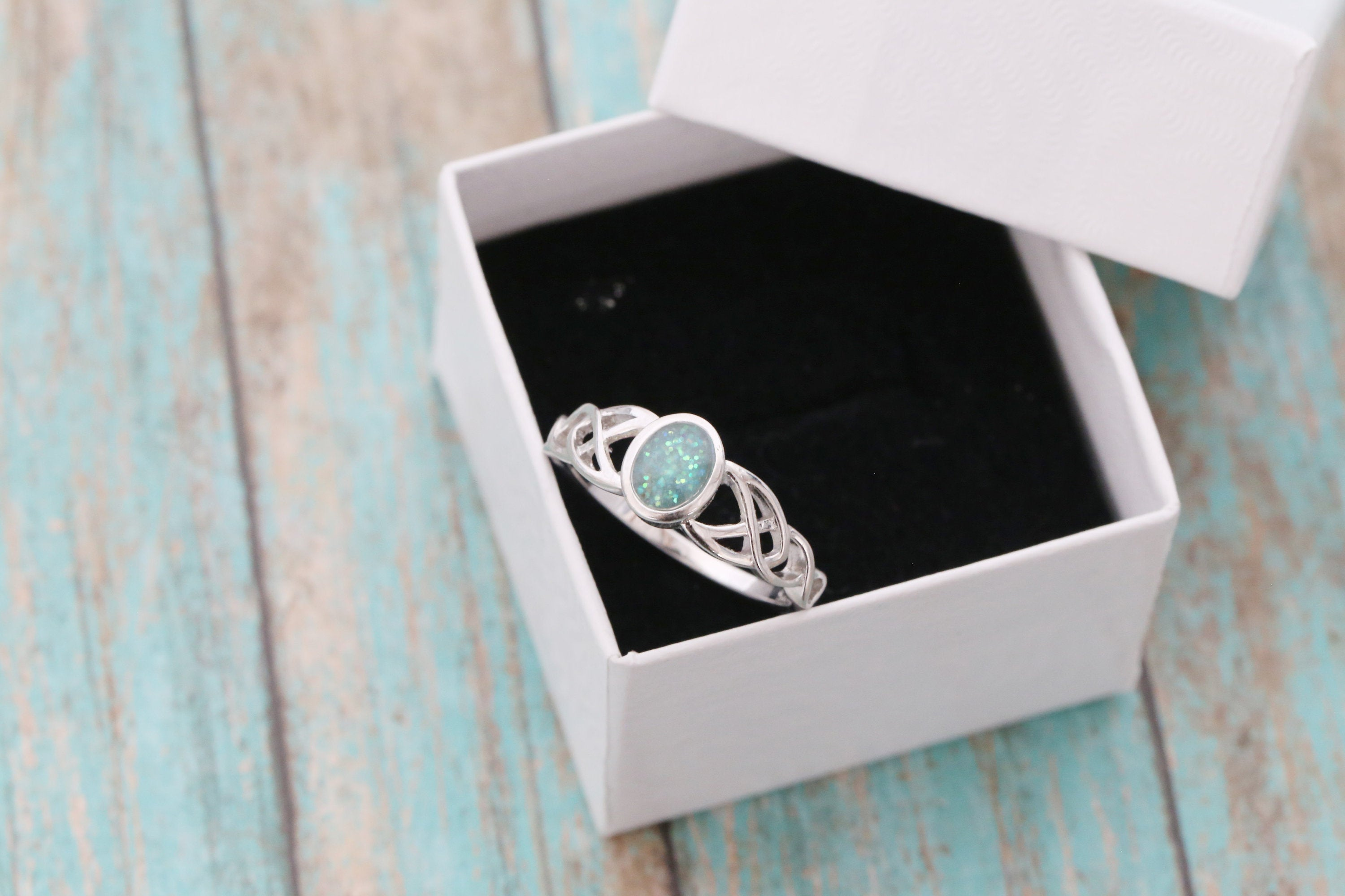 Cremation Ring - Sterling Silver Celtic Oval Ash Stone Ring - Cremation Jewelry - Ash Ring - Ash Jewelry - Urn Ring - Urn Jewelry - Pet Loss