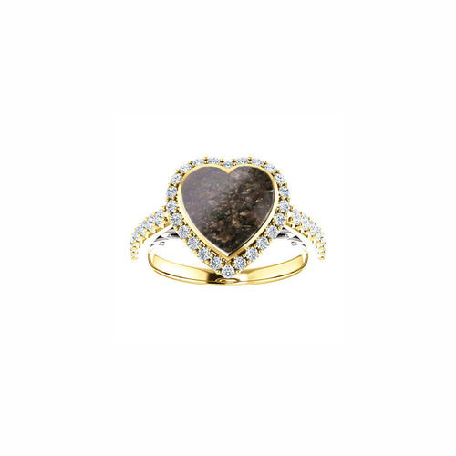 14k Yellow Gold Heart with Angel Wings Cremation Ring - Cremation Jewelry - Ash Ring - Ash Jewelry - Urn Ring - Pet Loss Cremation Ring