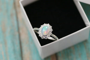 Sterling Halo Cremation Ring with Ethiopian Opal - Ash Ring - Cremation Jewelry - Ash Jewelry - Urn Ring - Pet Loss - Cremation Ring