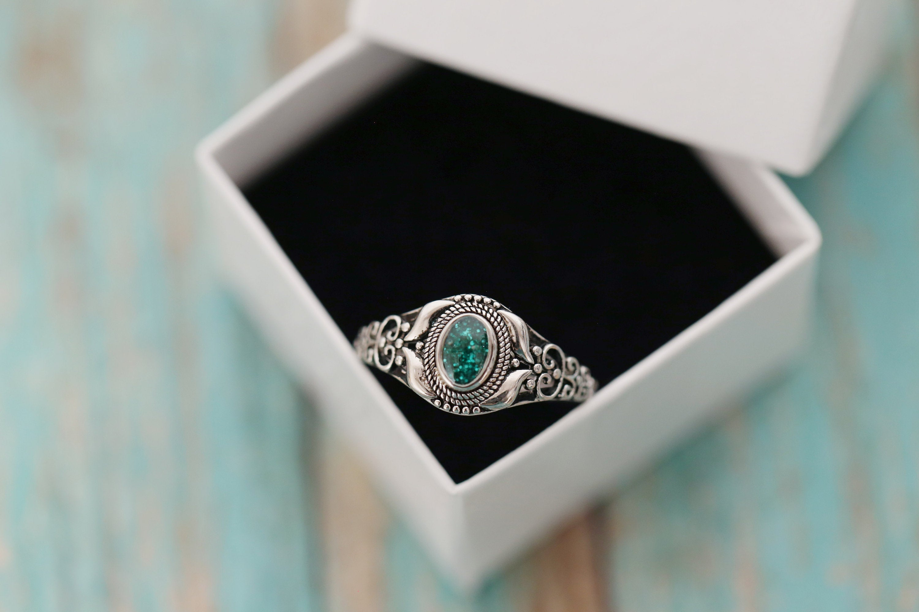 Cremation Ring - Sterling Silver Oval Birthstone Ring - Cremation Jewelry - Ash Ring - Ash Jewelry - Urn Ring - Urn Jewelry - Pet Loss