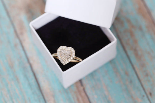 14k Gold Heart with Rose Cut Diamonds - Cremation Ring - Cremation Jewelry - Ash Ring - Ash Jewelry - Urn Ring - Pet Loss