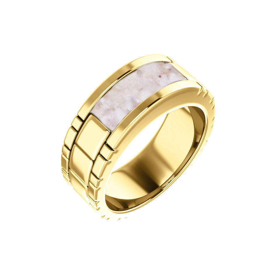 10k Gold Men's Cremation Ring - Gold Cremation Band Ring - Cremation Jewelry - Ash Ring - Ash Jewelry - Urn Ring - Urn Jewelry - Pet Loss