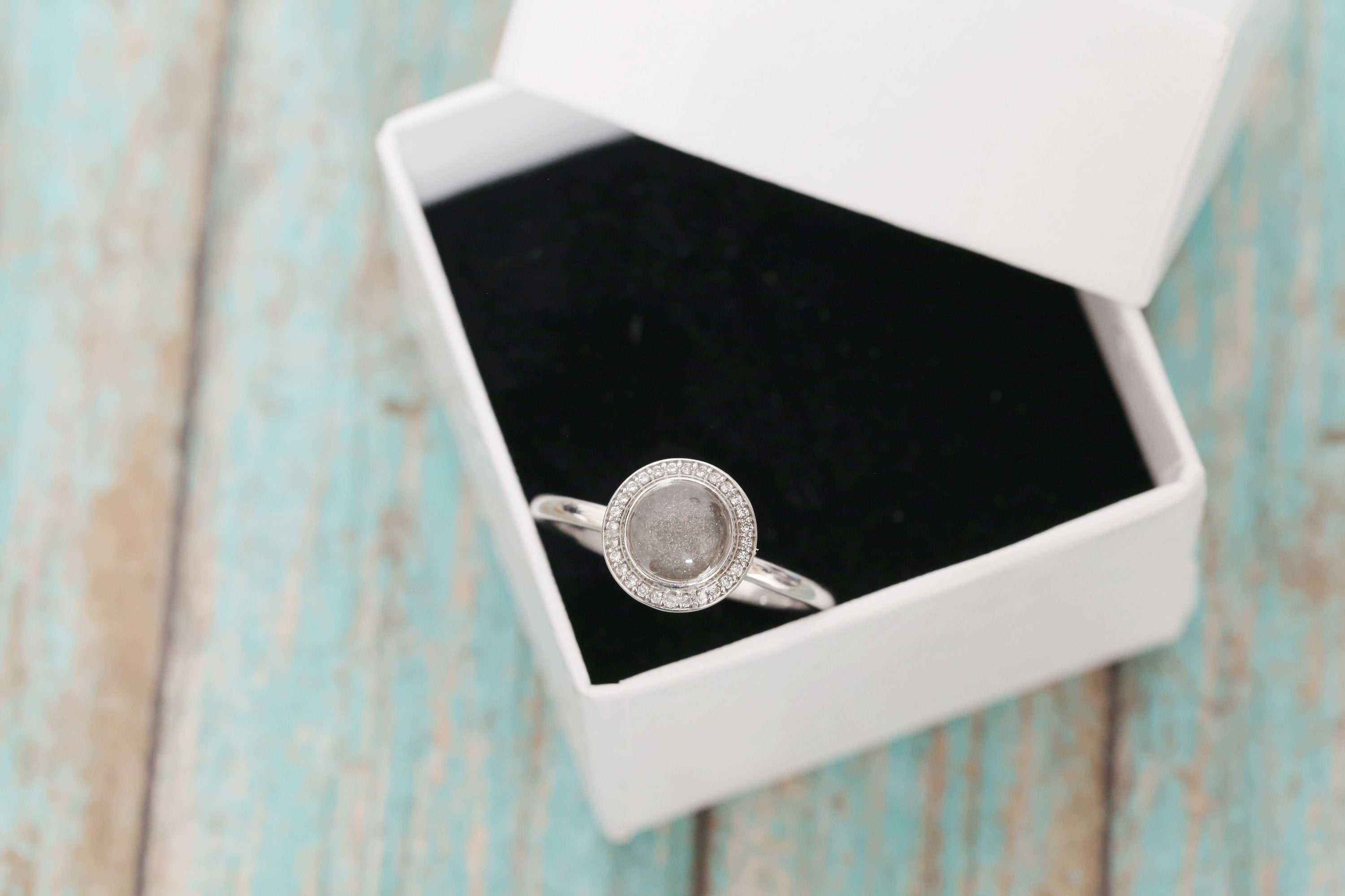Platinum and Diamond Cremation Ring - Halo Ring - Cremation Jewelry - Ash Ring - Ash Jewelry - Urn Ring - Urn - Pet Loss - Cremation Ring