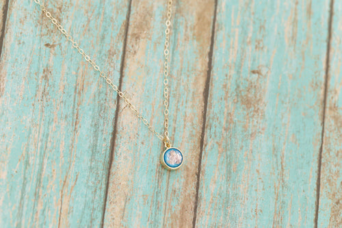Tiny 14k Gold Cremation Necklace - Dainty Gold Circle Pendant - Cremation Jewelry - Ash Necklace - Ash Jewelry - Urn Necklace - Pet Loss