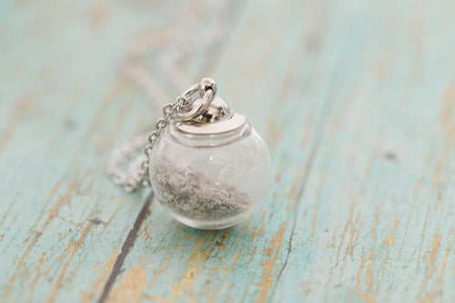 Large Stainless Memorial Glass Orb Pendant - Cremation Jewelry - Ash Necklace - Urn Necklace - Pet Memorial - Vial Necklace - Vial for Hair