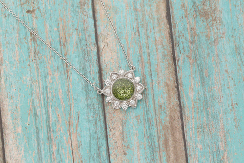 14k White Gold Cremation Pendant - Diamond Flower Necklace - Cremation Jewelry - Ash Ring - Ash Jewelry - Urn Necklace -Urn - Pet Loss