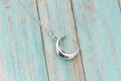 Stainless Memorial Crescent Moon Urn Pendant - Cremation Jewelry - Ash Necklace - Urn Necklace - Pet Memorial - Vial Necklace