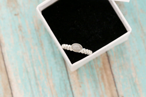 14k White Gold Cremation Ring - Oval Gold Stacking Ring - Cremation Jewelry - Ash Ring - Ash Jewelry - Urn Ring - Pet Loss - Cremation Ring