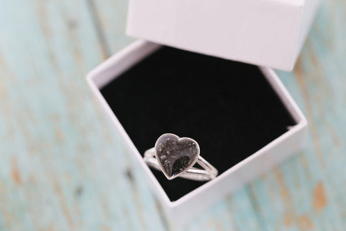 14k Gold Cremation Ring - 10mm White Gold Heart Ring - Cremation Jewelry - Ash Ring - Ash Jewelry - Urn Ring - Urn Jewelry - Pet Loss