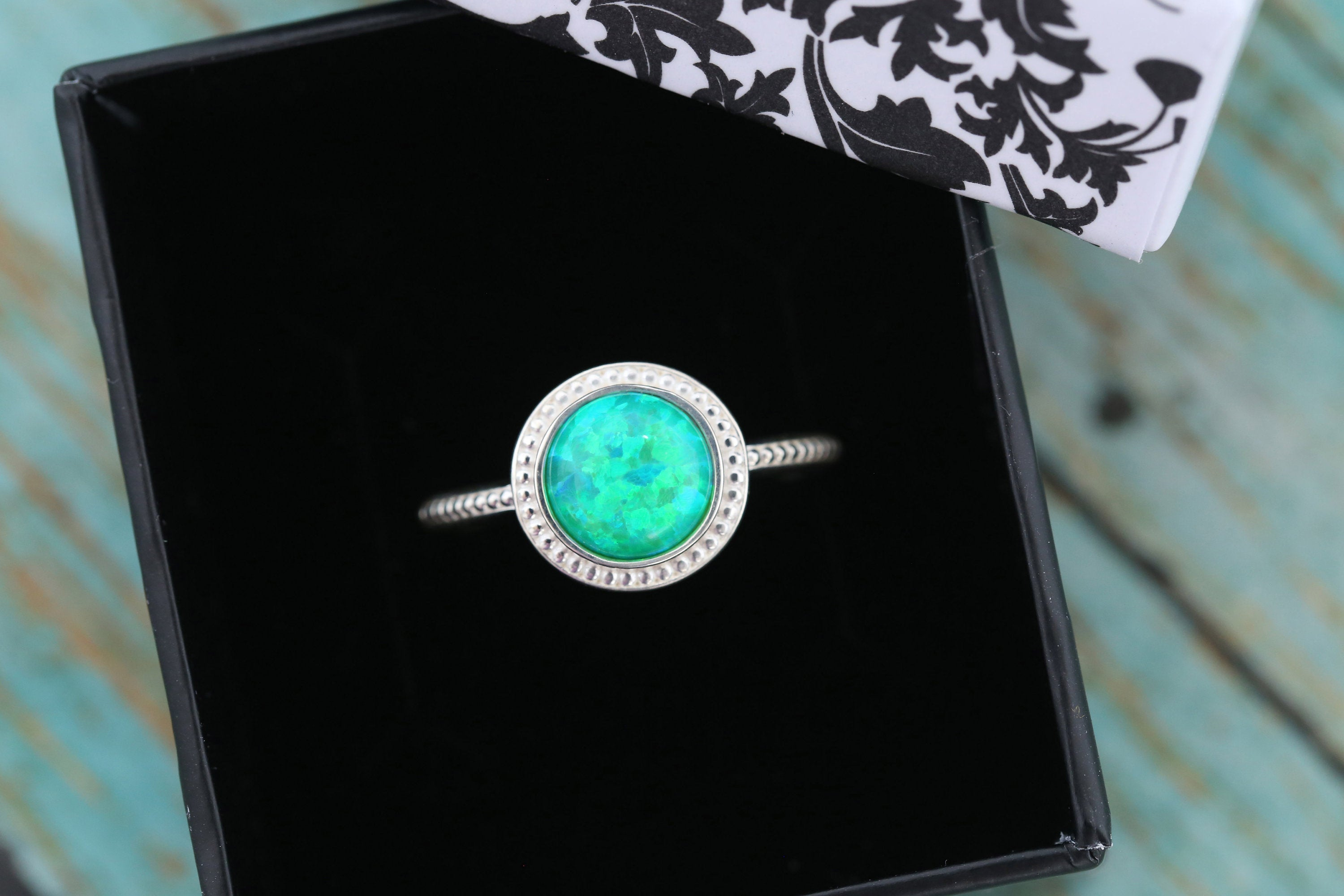 8mm Opal Cremation Ring - Sterling Silver Beaded Ring - Cremation Jewelry - Ash Ring - Ash Jewelry - Urn Ring - Pet Loss - 8mm3
