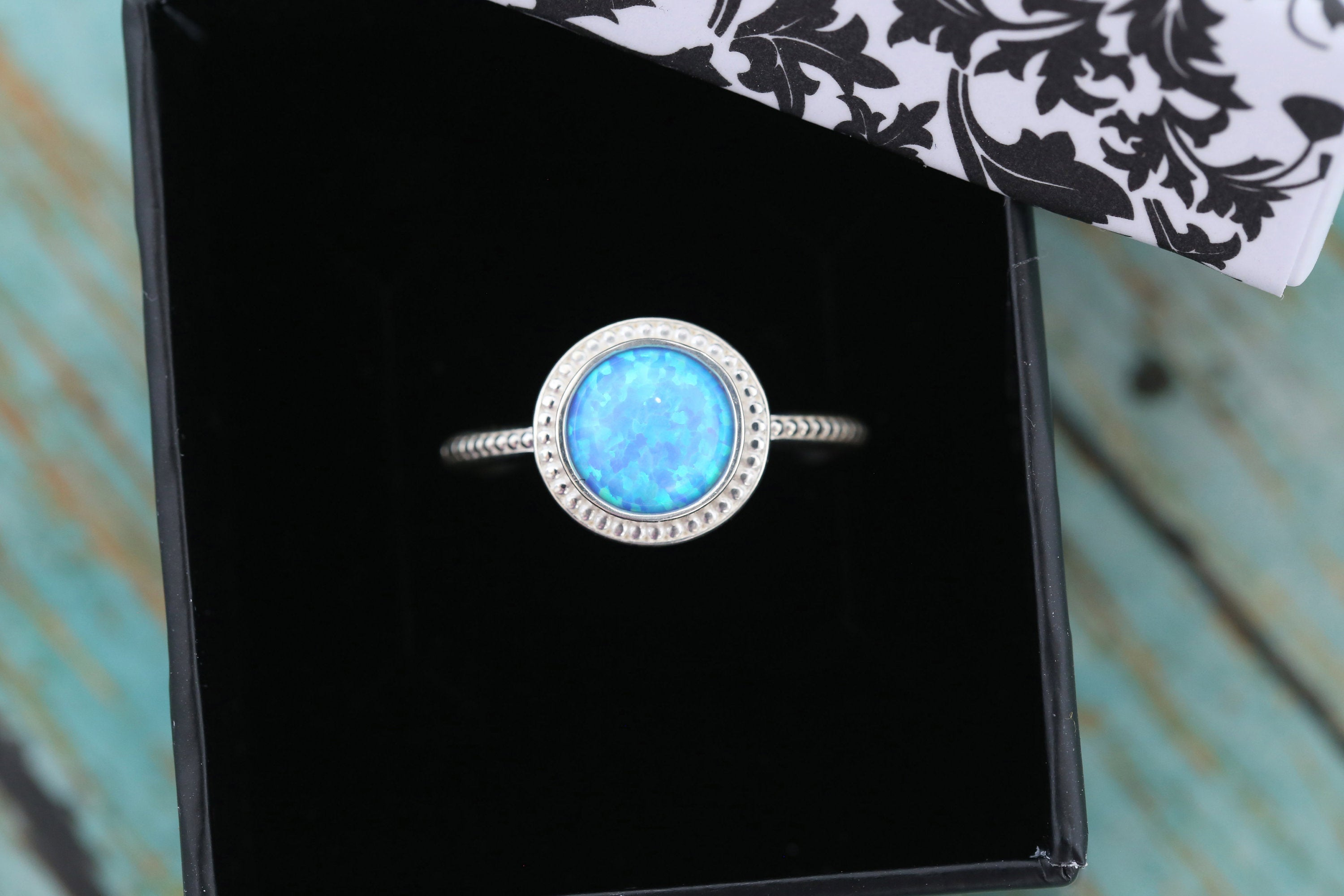 8mm Opal Cremation Ring - Sterling Silver Beaded Ring - Cremation Jewelry - Ash Ring - Ash Jewelry - Urn Ring - Pet Loss - 8mm4