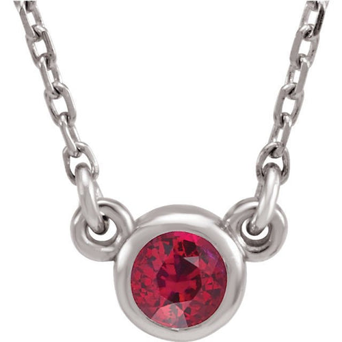 Sterling Silver Birthstone Cremation Ash Pendant - Ruby - Cremation Jewelry -Ash Necklace -Ash Jewelry - Urn Jewelry - Pet Loss