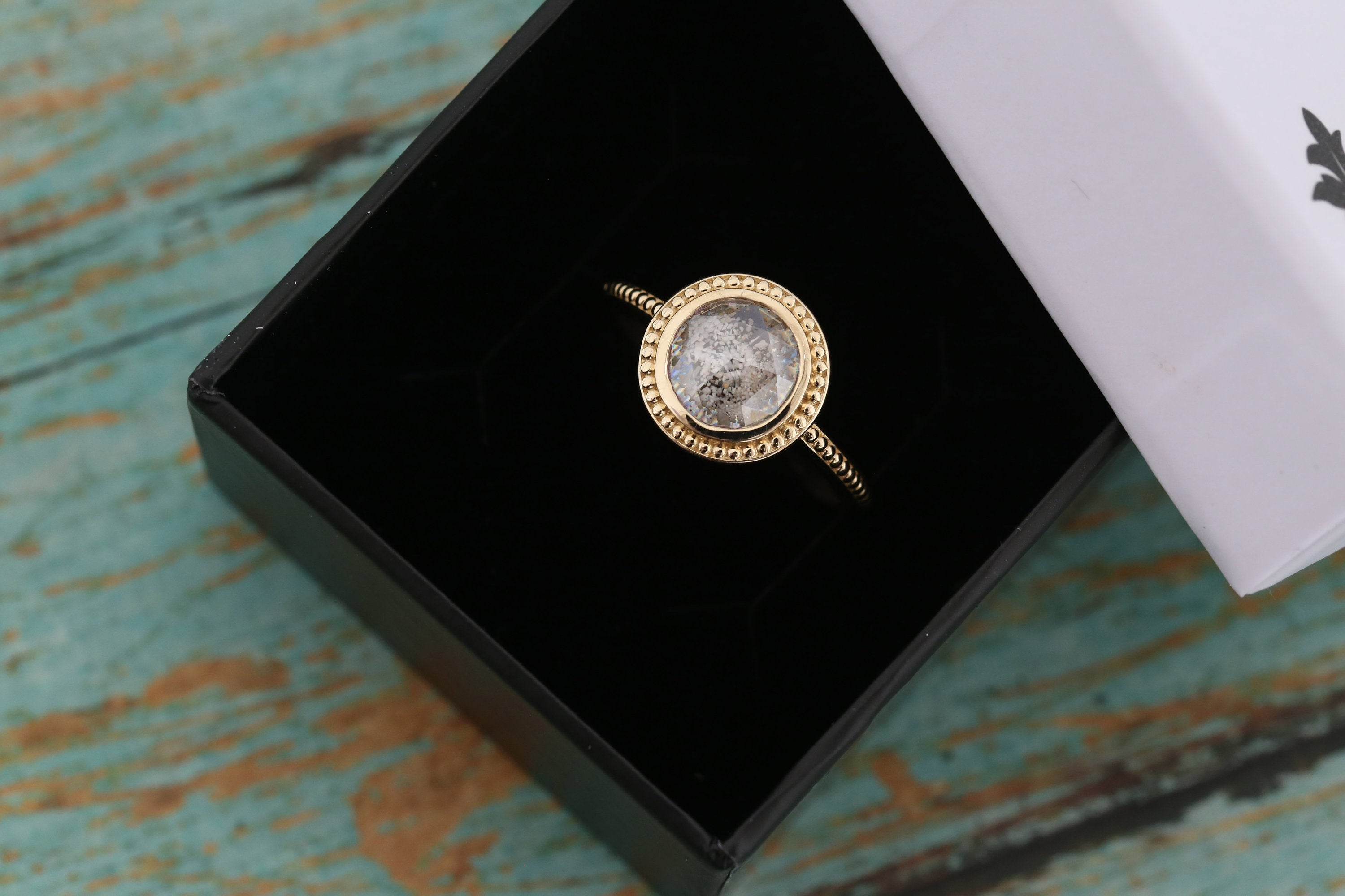 "14k Gold Cremation Ring - ""Caroline"" Beaded Ring - Rose Cut Moissanite - Cremation Jewelry - Ash Ring - Ash Jewelry - Urn Ring - Pet Loss"
