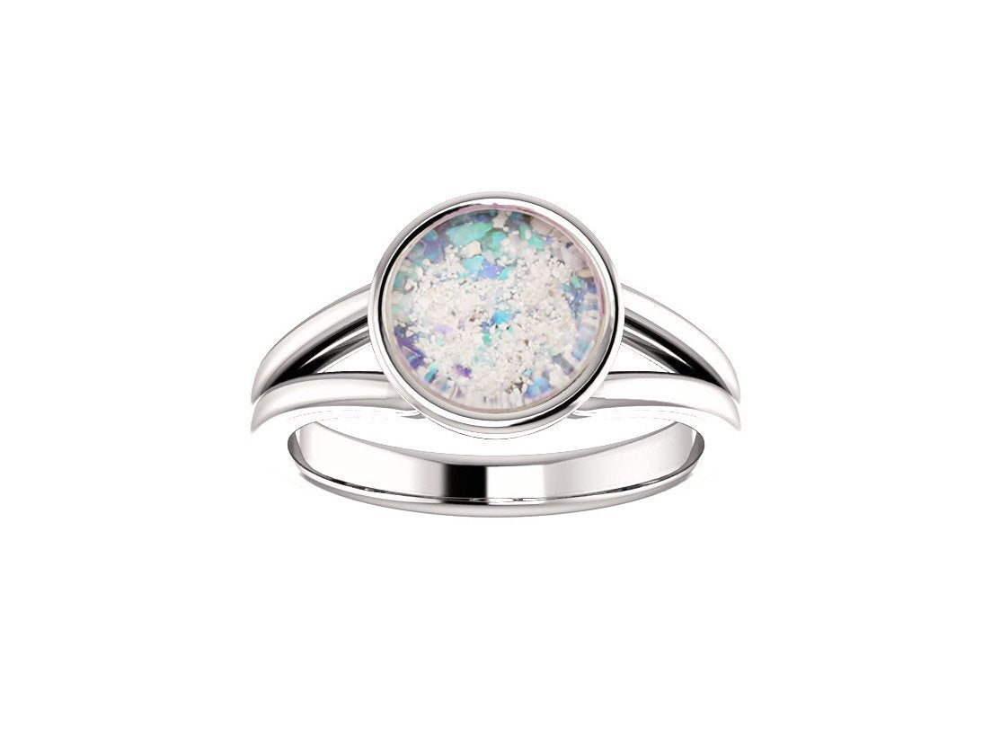 8mm Opal Cremation Ring - 14k White Gold Cremation Ring - Cremation Jewelry - Ash Ring - Ash Jewelry - Urn Ring - Urn Jewelry - Pet Loss