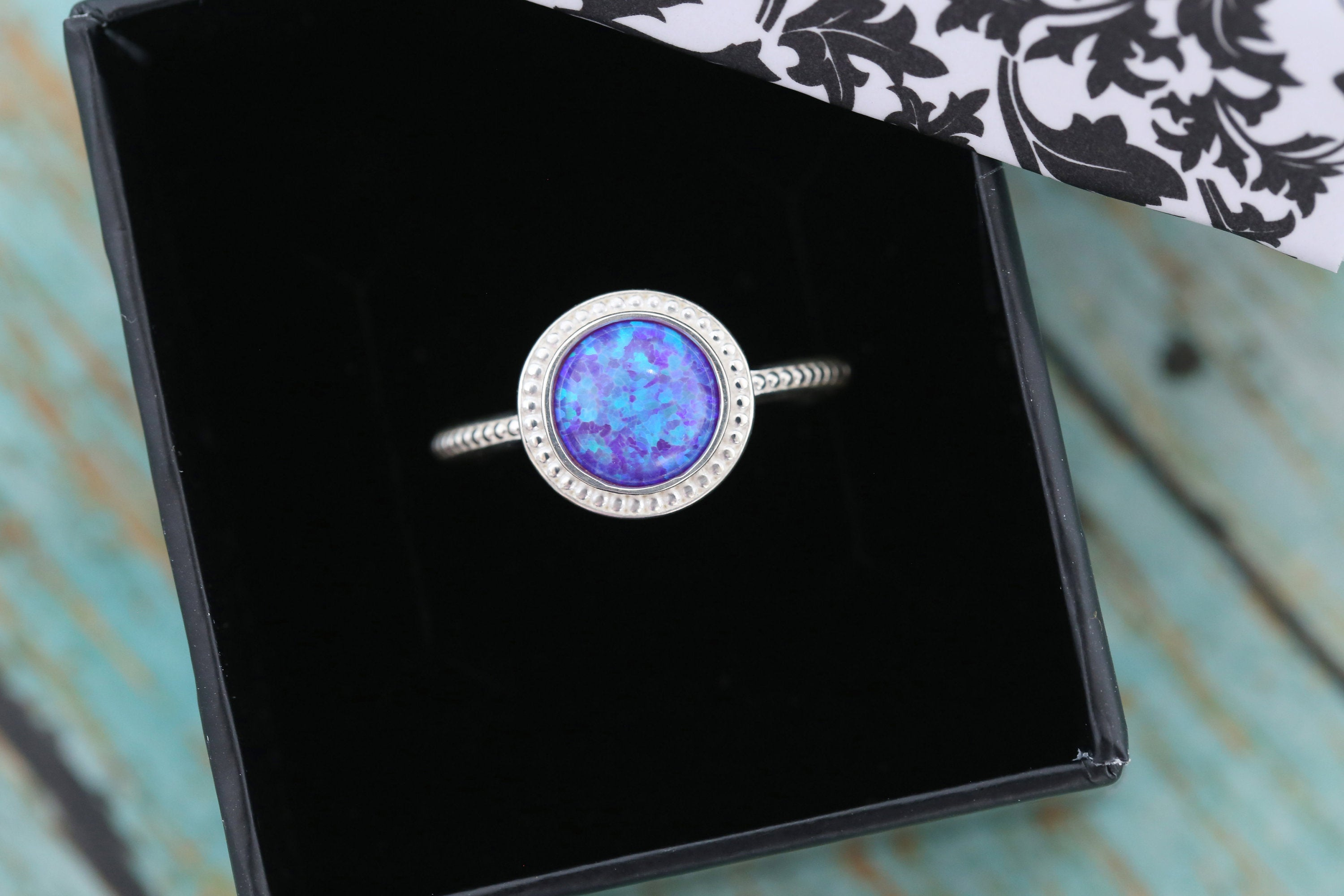 8mm Opal Cremation Ring - Sterling Silver Beaded Ring - Cremation Jewelry - Ash Ring - Ash Jewelry - Urn Ring - Pet Loss - 8mm8